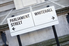 Parliament and Whitehall Street Sign in Westminster London Stock Images