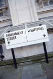 Parliament and Whitehall Street Sign in Westminster, London Royalty Free Stock Photos