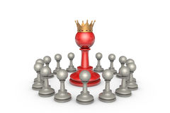 Parliamentary elections or the political elite (chess metaphor). Chess pieces on a white background. In the center of a large red pawn (with a golden crown). It' royalty free illustration
