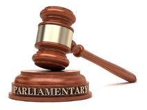 Parliamentary law. Gavel and Parliamentary text on sound block Stock Image