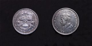 Parliment House pre-decimal 1927 Silver Florin. Stock Image