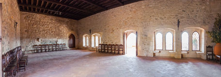 The parlor of the Gothic Palatial Residence (Pacos Novos) of the Leiria Caste. Royalty Free Stock Photography