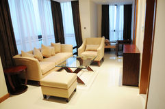 The parlor of a hotel suite. With sofa,couch,teatable and other fitments Stock Images