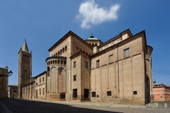 Parma Cathedral. A view of one exterior side of the historic Parma Cathedral, Parma, Italy stock images