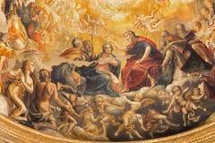 Parma - de fresko van Kroning van Maagdelijke Mary in hoofdapsis van Di Santa Mari della Steccata van kerkchiesa Stock Foto