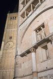 Parma Italy by night: cathedral square Royalty Free Stock Photography