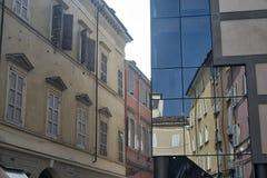 Parma Italy:  Cesare Battisti square, reflections Stock Photography