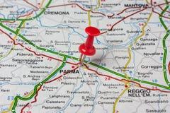 Parma fijó en un mapa de Italia Foto de archivo libre de regalías