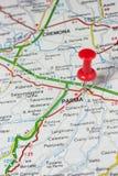 Parma fijó en un mapa de Italia Imagen de archivo