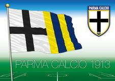 Parma 1913 footbal club flag and coat of arms, vector illustration, editorial Stock Photo
