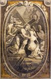 Parma - The fresco Jesus meet his mother station of the cross in church Basilica di Santa Maria della Steccata. PARMA, ITALY - APRIL 16, 2018: The fresco Jesus stock photos