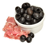 Parma Ham And Black Olives Stock Images