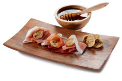 Parma ham dried fig and honey Royalty Free Stock Images