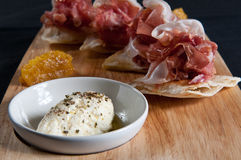 Parma ham on flatbread Stock Images