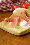 Parma ham (jamon) with fragrant herbs Stock Photo
