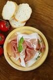 Parma ham (jamon) with fragrant herbs Stock Image