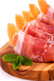 Parma ham and melon Stock Photos