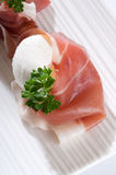 Parma ham and mozzarella Stock Photo