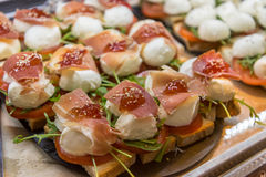 Parma ham and Mozzarella Appetizer at Mercado de San Miguel royalty free stock photography