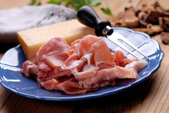 Parma ham on the plate Royalty Free Stock Images