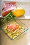 Parma ham and potato salad Royalty Free Stock Images