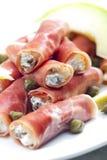 Parma ham rolls Royalty Free Stock Image