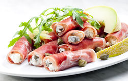 Parma ham rolls Royalty Free Stock Photo