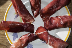 Parma ham roulade at the cheese Royalty Free Stock Image