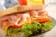 Parma ham sandwich. With lettuce, slice tomato on dish royalty free stock image