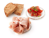 Parma Ham, Tomato And Whole Wheat Bread Royalty Free Stock Photos