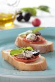 Parma ham and white cheese. Fusion food of parma ham and white cheese dressed up with tomato, redish, grape and italian basil Royalty Free Stock Photography