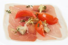 Parma Ham With Bell Pepper And Tomato Royalty Free Stock Photography