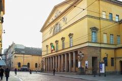 PARMA, ITALIË - JANUARI 08, 2015: Buitenpf Teatro Regio I Stock Afbeelding