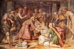PARMA, ITALIA - 16 DE ABRIL DE 2018: El freso de la adoración de los pastores en los di Santa Croce de Chiesa de la iglesia Imagenes de archivo