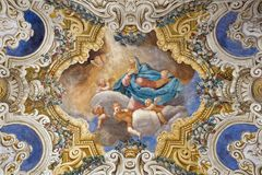 PARMA, ITALIEN - 16. APRIL 2018: Das Decke freso des Asumption von Jungfrau Maria in Kirche Chiesa-Di Santa Croce Stockbild