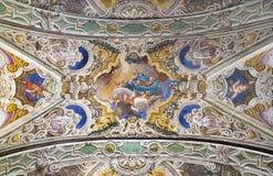PARMA, ITALIEN - 16. APRIL 2018: Das Decke freso des Asumption von Jungfrau Maria in Kirche Chiesa-Di Santa Croce Lizenzfreies Stockbild