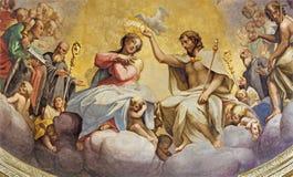 PARMA, ITALIEN - 15. APRIL 2018: Das Fresko der Krönung von Jungfrau Maria in der Hauptapsis der Kirche Chiesa di San Giovanni Ev stockbild