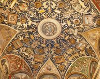 PARMA, ITALY - APRIL 17, 2018: The ceilig fresco grotesque of Camera di San Paolo by Alessandro Araldi 1514.  royalty free stock photos