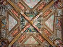 Detail of the marvelous Renaissance frescoes on the ceiling of t stock photo