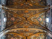 Detail of the marvelous Renaissance frescoes on the ceiling of t stock photos