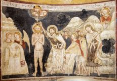 PARMA, ITALY - APRIL 16, 2018: The fresco of Baptism of Jesus in Baptistery from 14. cent royalty free stock images