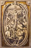 PARMA, ITALY - APRIL 16, 2018: The fresco of Crucifixion in church Basilica di Santa Maria della Steccata from 17. cent.. PARMA, ITALY - APRIL 16, 2018: The royalty free stock image