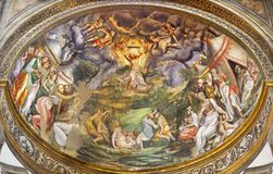 PARMA, ITALY - APRIL 16, 2018: The fresco Moses Receives the Ten Commandments on Two Tablets of Stone in side apse of Duomo. By Pomponio Allegri 1560-1562 stock image