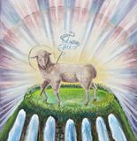 PARMA, ITALY - APRIL 17, 2018: The painting of Lamb of God on the side altar in church Chiesa di Santa Maria degli Angeli. By unknown artist Royalty Free Stock Photo