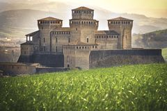 Parma - Italy - castle of Torrechiara meadow vale panorama enchanted land and fantasy setting Royalty Free Stock Photography