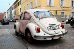 PARMA, ITALY - JANUARY 15, 2015: Back view of the vintage Volkswagen. In the old Italian town Royalty Free Stock Image