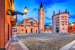 Duomo di Parma, Parma, Italy. Parma, Italy - Piazza del Duomo with the Cathedral and Baptistery, built in 1059. Romanesque architecture in Emilia-Romagna Royalty Free Stock Photo