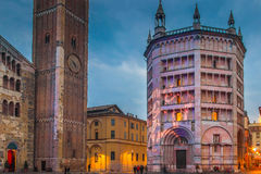 Parma, Italy. View of Battistero building illuminated in the night, Parma, Italy Royalty Free Stock Photography