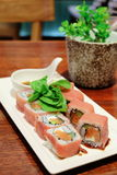 Parma maki with cheese filling. Japanese food Parma maki with cheese Stock Photo