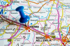 Parma on map. Close up shot of Parma on map with blue push pin Royalty Free Stock Photos